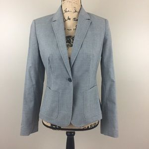 J Crew Suiting One Button Wool Blazer, Gray, 2